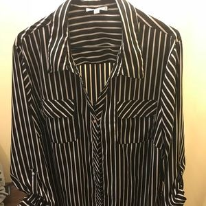 Tops - 3X Button Up Stripe Woman's Top